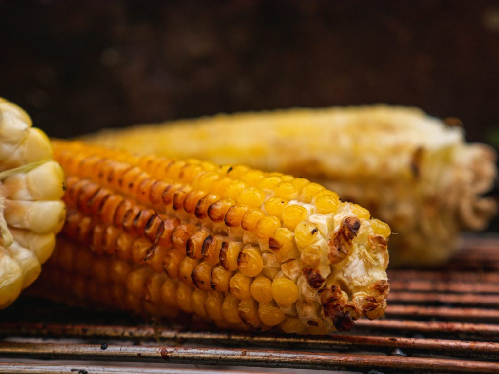 yellow corn on stainless steel tray